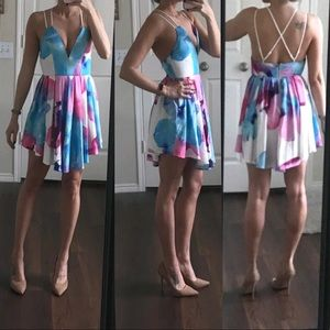 L'atiste white pink blue floral open back dress